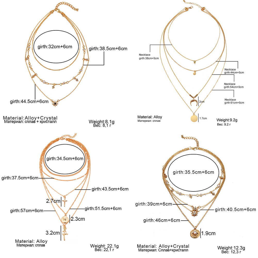 新しい多層クリスタルムーンネックレスとペンダント女性ヴィンテージの魅力ゴールドチョーカーネックレス 2019 、卸売ジュエリー
