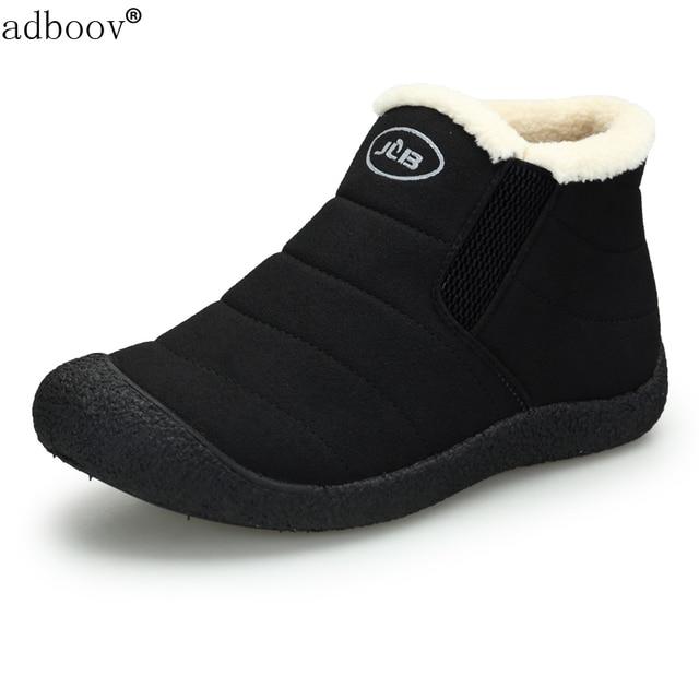 Men's Winter Warm Flat Slip-On Loafers Waterproof Snow Shoes Deep Blue 41