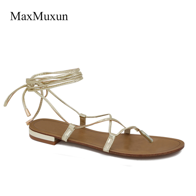 f242000b49d8 MaxMuxun Shoes Women Lace Up Gladiator Flat Sandals Summer Cross Tied Open  Toe Flip Flops Ankle Strappy Casual Sexy Style Sandal