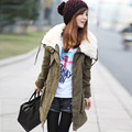 Free Shipping-2015 Winter Casual Women'S Loose Thickening Berber Fleece Long Design Snow Wear Women'S Cotton-Padded Jacket