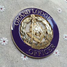 Mason Wreath Masonic Hat Grand Lodge Officer Emblem Free Masons Masonry Auto Car Wreathed Square and Compass Logo Metal Craft