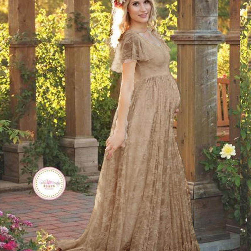 2017 Hot Sale Maternity Photography Props Pregnancy Wear Elegant Lace Party Evening Dress Maternity Clothing For Photo Shoots Babydreams