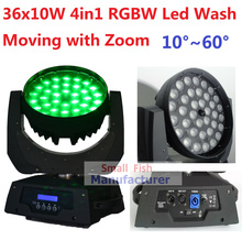 Free Shipping 36x10W RGBW 4in1 Led Wash Beam Moving Head Led Stage Lights with Zoom DJ DMX Disco Effect Equipments Party Wedding