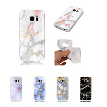 HEMASOLY Case For Samsung Galaxy S5 S6 S7 Silicone Edge Plating Bling Marble Soft TPU Cover Phone Shell