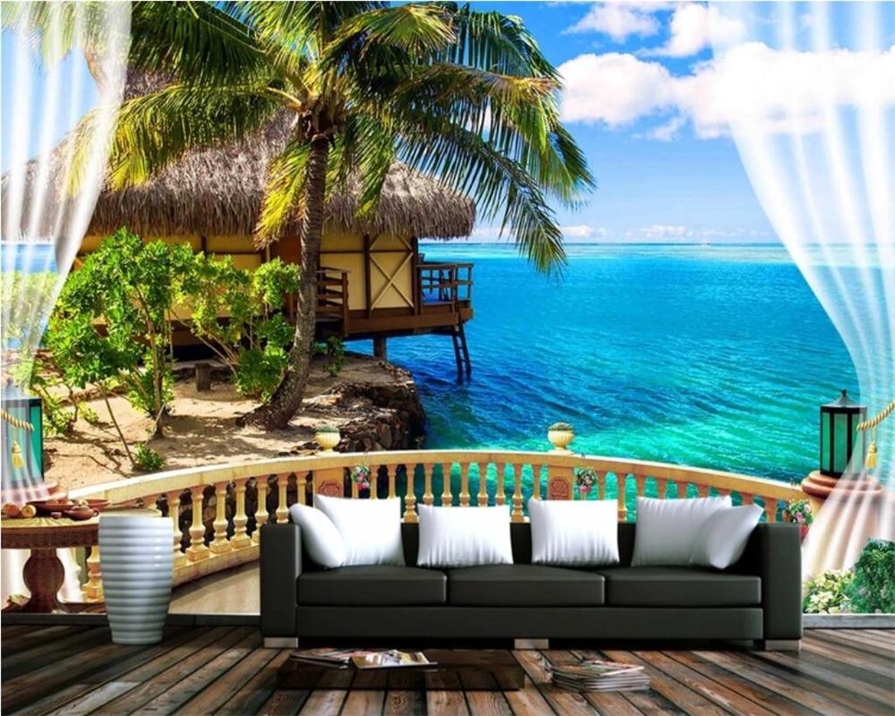 US $8 85 OFF Beibehang Custom Photo Wallpaper 3D Mural Wallpaper 3D Stereo Beach Balcony Seascape Blue Sky White Wall Living Room Mural Photo