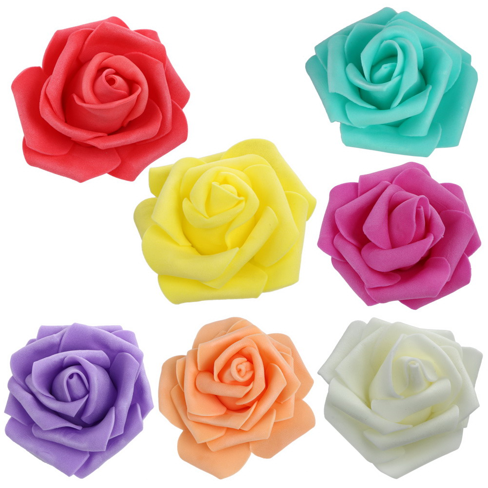 50pcs 6cm Foam Rose Flower Head Artificial Flowers Bouquet for ...