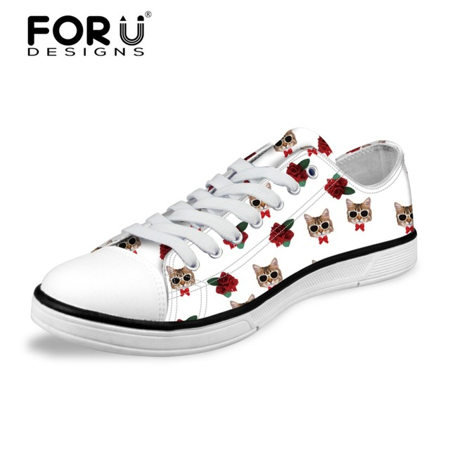 30f93b76a3be29 FORUDESIGNS Cute Animal Mini Cat Pattern Flats Vulcanize Shoes Women Fashion  Spring Summer Low Canvas Shoes for Ladies Female