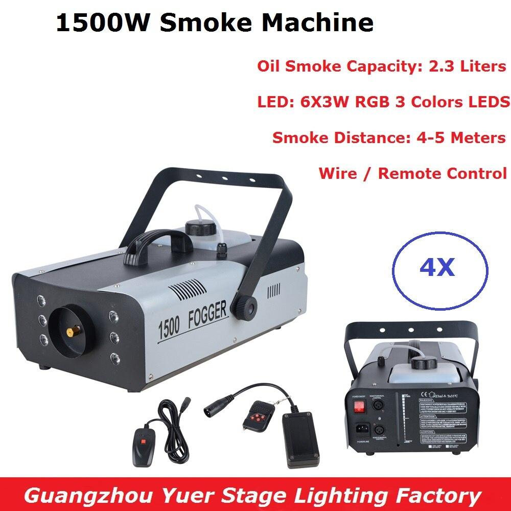4 pcs lote preco barato 1500 w rgb cores led dmx512 2 3l capacidade de fumaca
