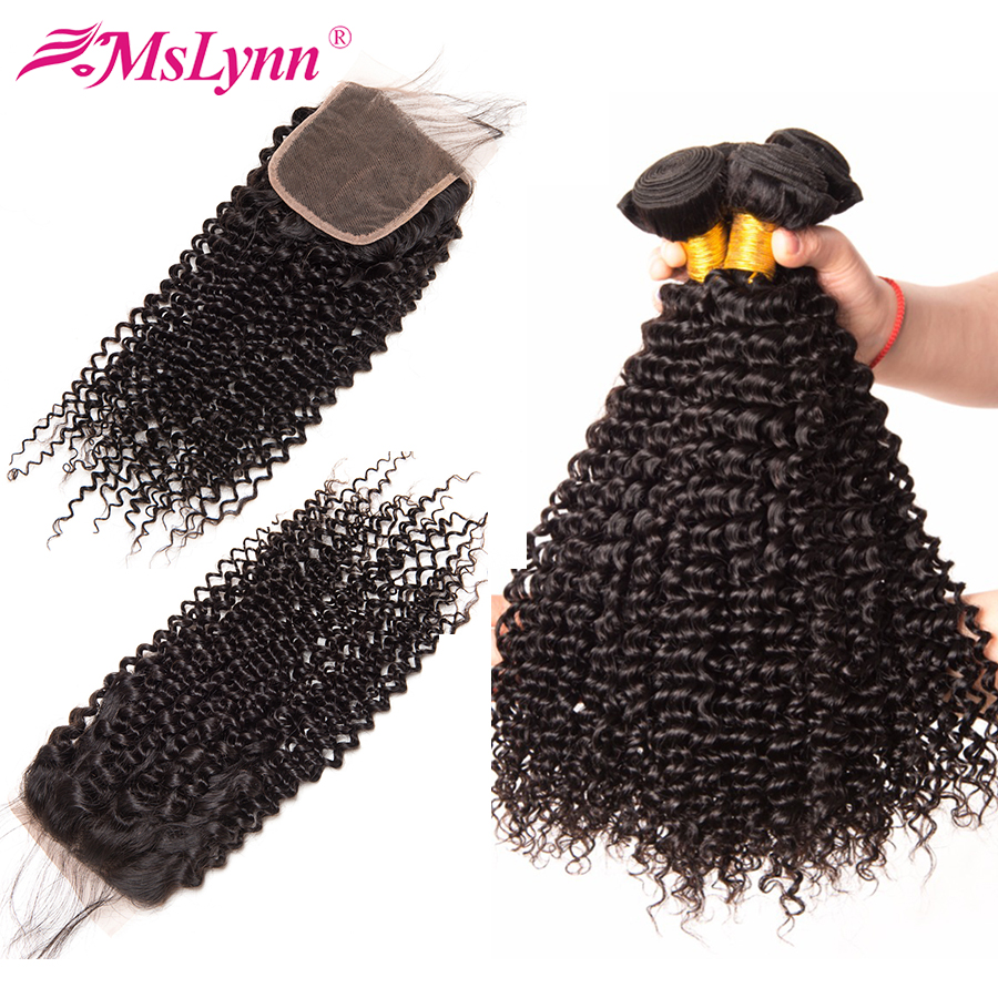 Mslynn Afro Kinky Curly Hair With Closure Indian Curly Hair With Closure Human Hair 3 Bundles With Lace Closure 4x4 Non Remy