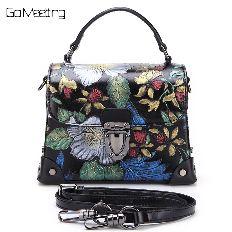 Brand  Vintage Leather Women handbags Totes three-dimensional Flowers Cow Leather Women's Shoulder Bag Crossbody bags New 2018 new original brand designer women s nature cow leather skin female handbags soft vintage crossbody shoulder bags totes