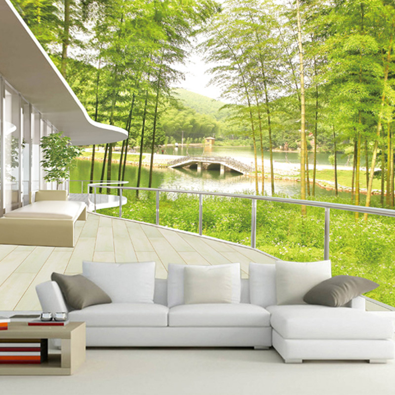 Custom Mural Wallpaper 3D Bamboo Forest Landscape Wall Painting Home Decoration Livingroom Sofa TV Background 3D Photo Wallpaper