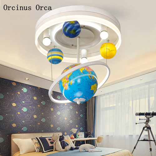 Cartoon Creative Rotary Globe Chandelier Boys Bedroom Children's Room Light Modern Simple LED Planet Chandelier Free Shipping