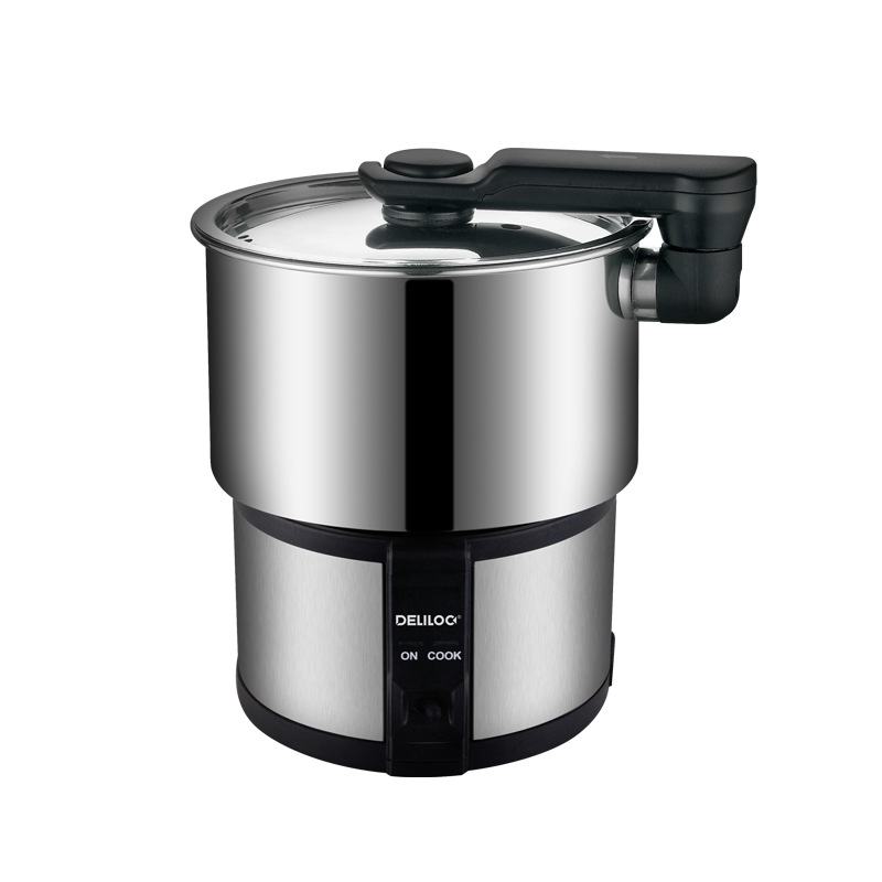 22%,110-240V Mini Multi Cookers Travel Portable Electric Cooking Pot 304 Stainless Steel Hot Pot 450W 1.2L