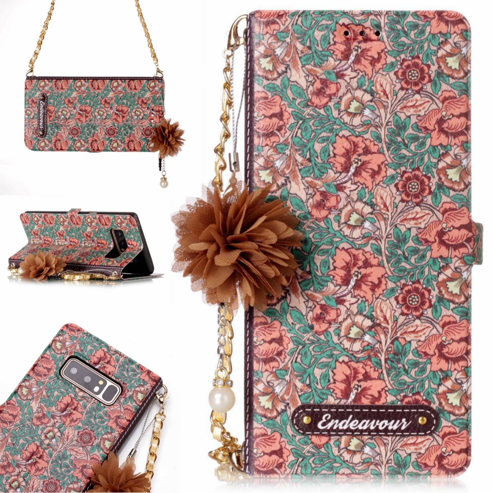 Stylish <font><b>Phone</b></font> <font><b>Case</b></font> For Samsung Note 5 Girl Handbag Purse <font><b>Case</b></font> For Samsung Note 5 Cover Portable Shoulder Chain Flower Design