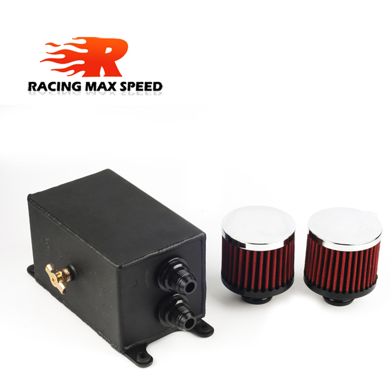 Image 3 - Universal 1.1L 2 ports AN10 Accessories Oil Fuel Oil catch Tank with 2 air filters and Oil Storage Tank can hold fan Kit-in Oil Filter Sets from Automobiles & Motorcycles
