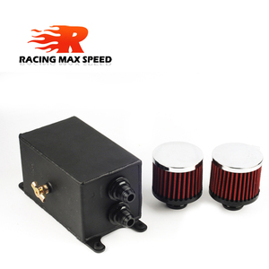 Image 3 - Universal 1.1L 2 ports AN10 Accessories Oil Fuel Oil catch Tank with 2 air filters and Oil Storage Tank can hold fan Kit