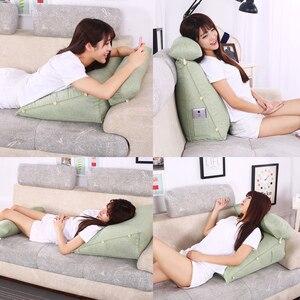 Image 3 - Smelov เตียงสามเหลี่ยมพนักพิงหมอนใหญ่กลับสนับสนุนหมอนข้างเตียง Lumbar Lumbar Cushion Lounger หมอน