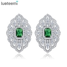 LUOTEEMI Rhodium Plated Brinco Bijoux Silver Color Green Glass Zircon Geometric French Clip Stud Earrings For