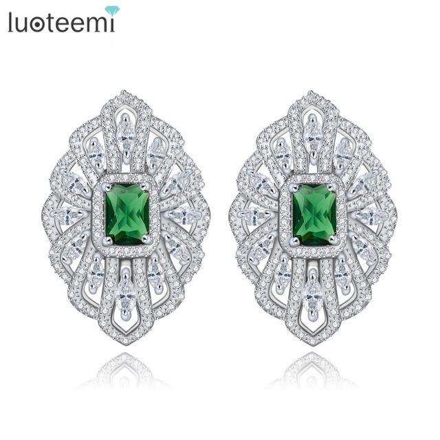 Luoteemi color oro blanco circón de cristal geométrica brinco bijoux de plata de color verde francés clip de pendiente del perno prisionero para las mujeres accesorios