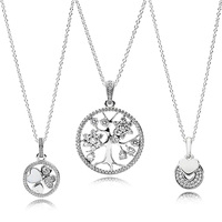 3 Style Authentic 925 Sterling Silver Necklaces Tree Clover Heart Crystal Pendant Necklace Bracelets for Women Jewelry