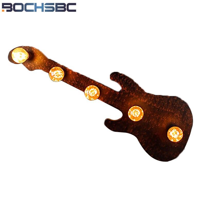 BOCHSBC guitare applique murale lumières industriel Restaurant Art guitare applique murale lampes pour Bar salle de bains salon étude salle lumière