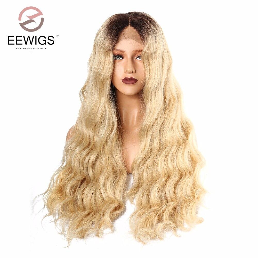 Syntetisk Snörning Fram Paryk Naturlig Lång Natralt Wave Paryk - Syntetiskt hår - Foto 3