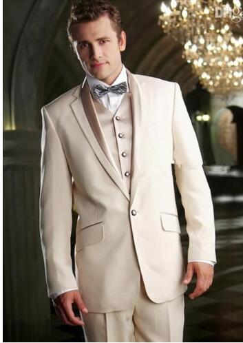 2019Latest Jacket Design Men Suits For Wedding Ivory Tuxedo Custom Grooms Gown Suit Jacket Terno Slim Costume Homme Mariage 3PCS