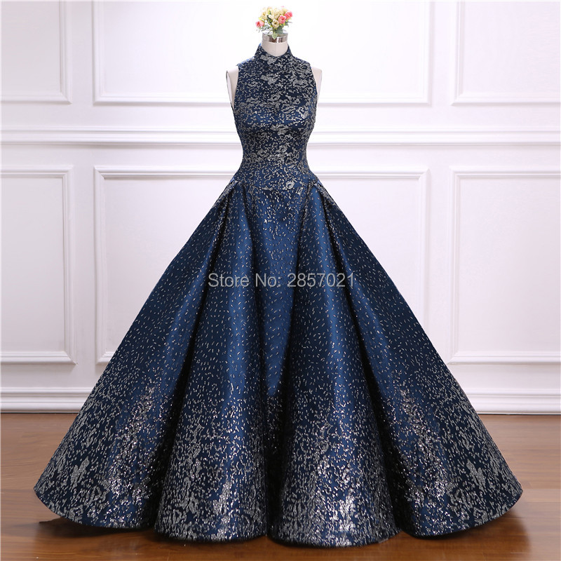 Ball Gown Arabic Dubai Formal Dresses Unique Fabric Sequined Halter Neck Evening Dresses Prom Gowns Turkish Evening Gowns gown