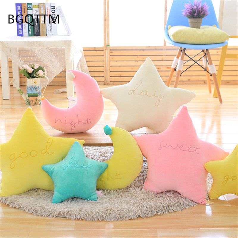 Kawaii Soft Plush Moon Star Pillow Placate Stuffed Plush Toys For Baby Children Room Decorative Embroidery Cushion Pillow Gift cute 45cm stuffed soft plush penguin toys stuffed animals doll soft sleep pillow cushion for gift birthady party gift baby toy