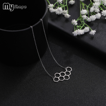 My Shape Fashion Jewelry Geometric Hollow Pendant Stainless Steel Decorate Necklace for Women