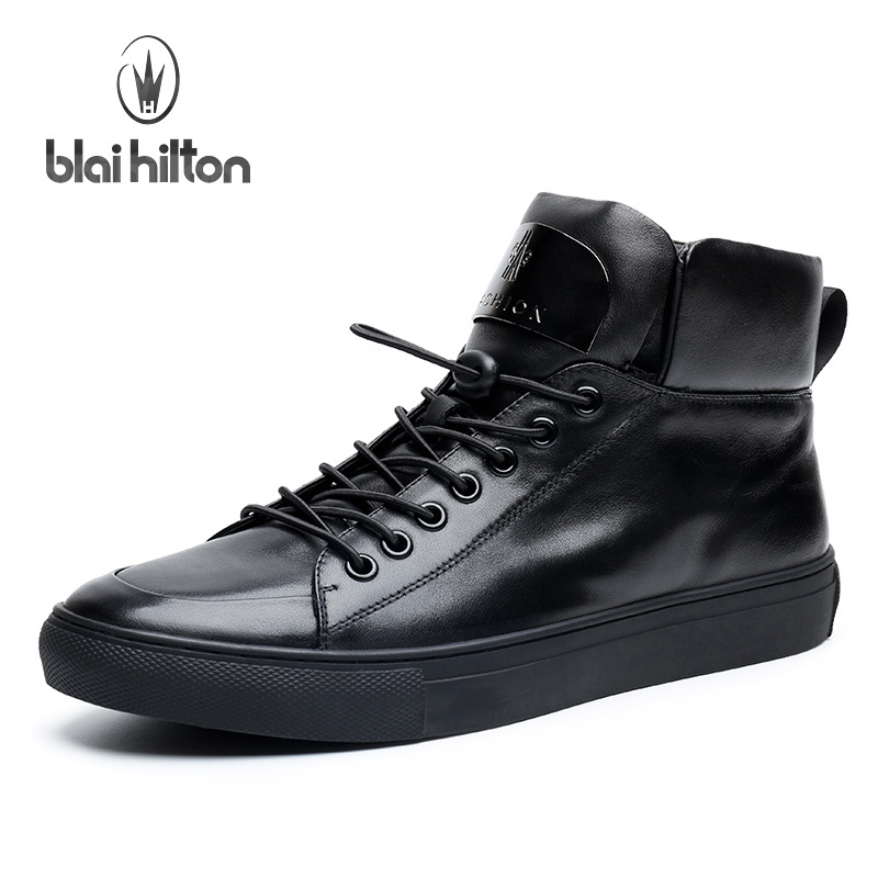 Blai Hilton 2017 Fashion men shoes Genuine Leather shoes Breathable/Comfortable Black Men's Casual Shoes-in Oxfords from Shoes    1