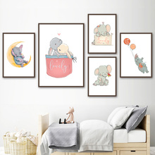 Cartoon Cute Elephant Rabbit Rhinoceros Nursery Wall Art Canvas Painting Nordic Posters And Prints Pictures Kids Room Decor