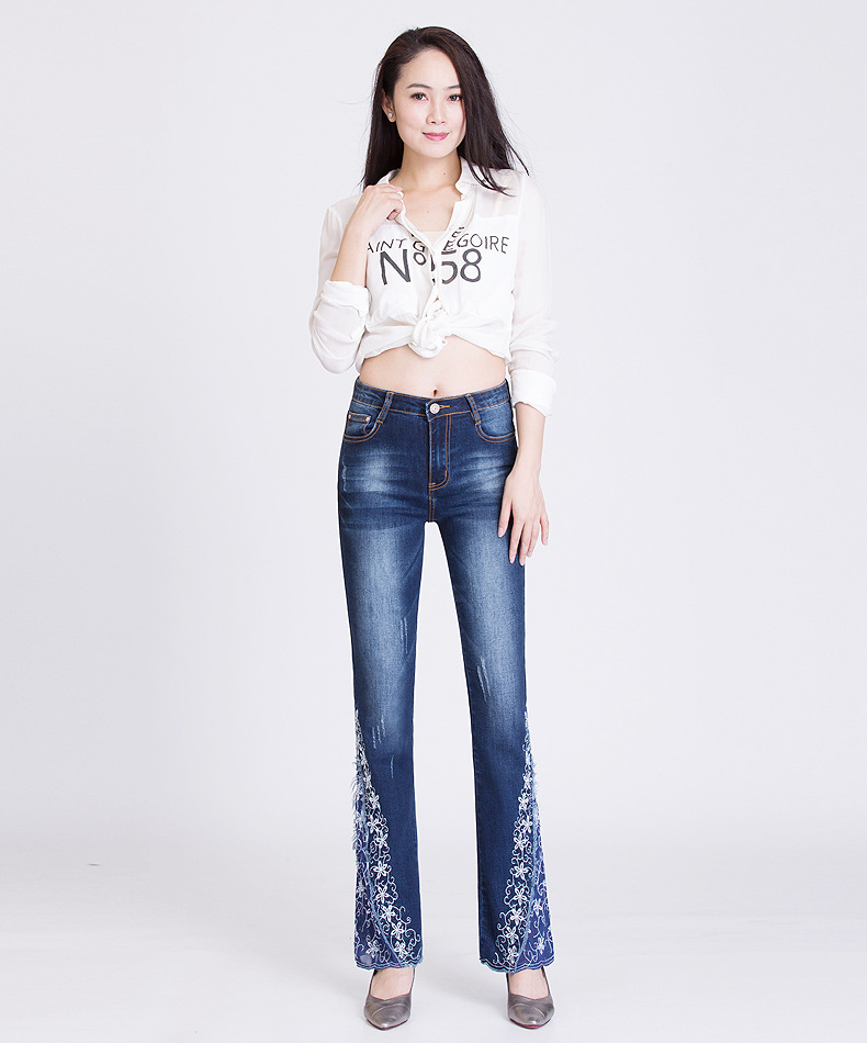KSTUN FERZIGE New Jeans Woman Embroidered Trousers Lace Bell Bottoms Design Light Blue Stretch High Waisted Jeans Sexy Ladies Mujer 36 12