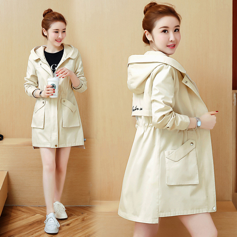 2019 New Spring Autumn Slim Hooded Casual   Trench   Coats Long Section Korean Letter Embroidery Women Windbreaker Coat V739