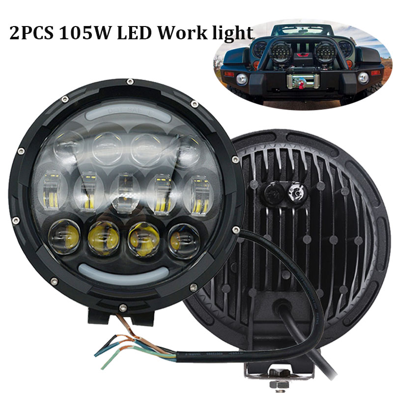 2PCS 105W LED Work light High Low beam DRL Offroad Driving lights for Truck, Car, ATV, SUV, Jeep, Construction, Camping, Hunters