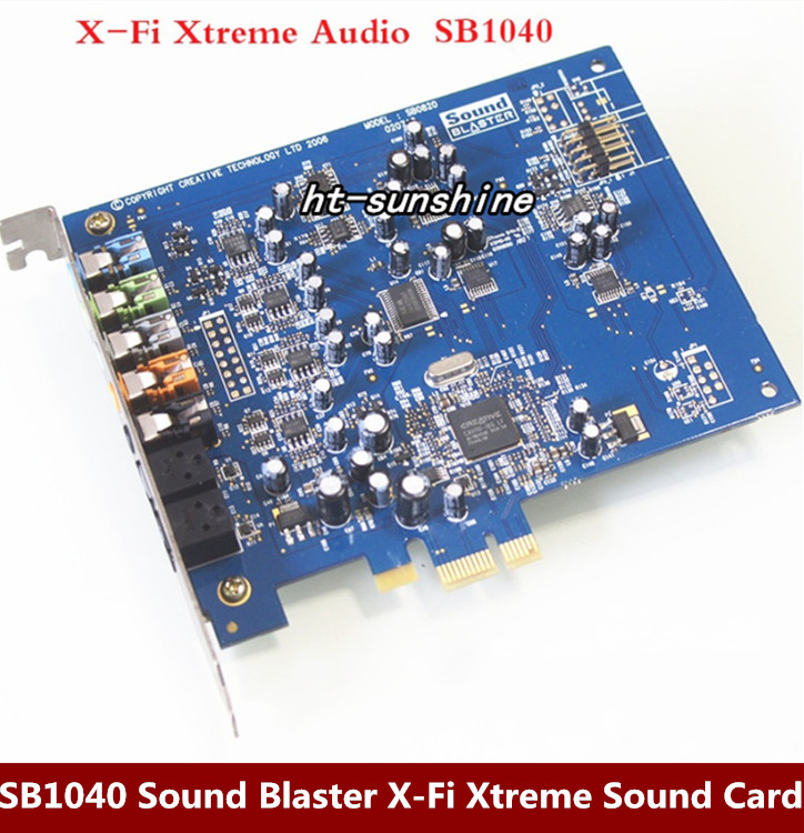 Original disassemble,For Creative SB1040 Sound Blaster X-Fi Xtreme Audio PCI-E Sound Card,100% working good queenway amplifier new creative labs sound blaster external sound card for net karaoke x fi surround pro 5 1 usb d a converter