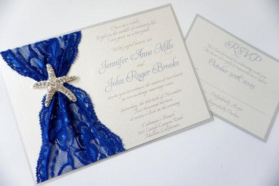 Blue Starfish Lace Wedding Invitation