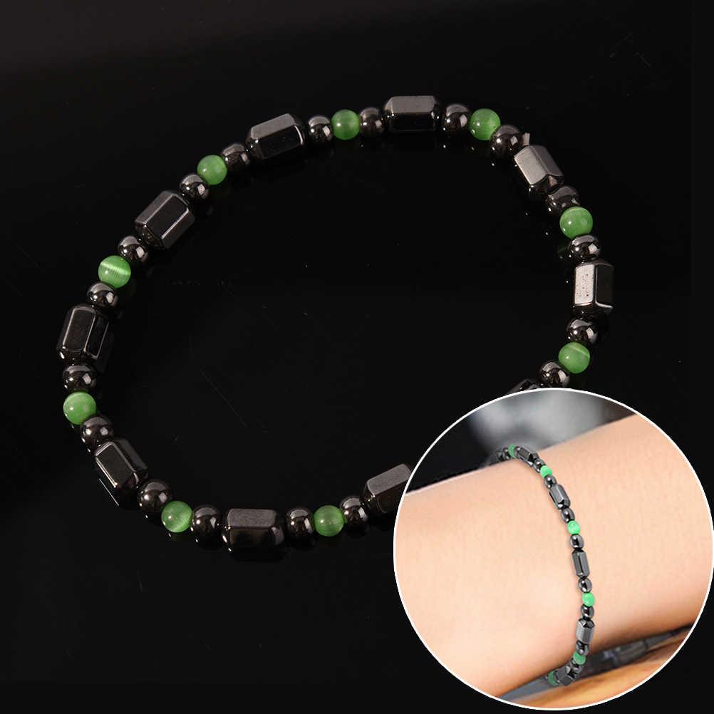 สำหรับผู้หญิงผู้ชาย Magnetic Hematite สุขภาพสร้อยข้อมือกำไลข้อมือหินธรรมชาติสีดำ Magnetite Malachite คริสตัล