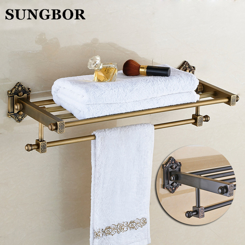 Whole brass Antique bath towel rack bathroom towel shelf bathroom towel holder Antique Double towel shelf HY-93812F batroom golden crystal double cup holder bathroom double cup rack holder hardware bath sets bathroom accessories