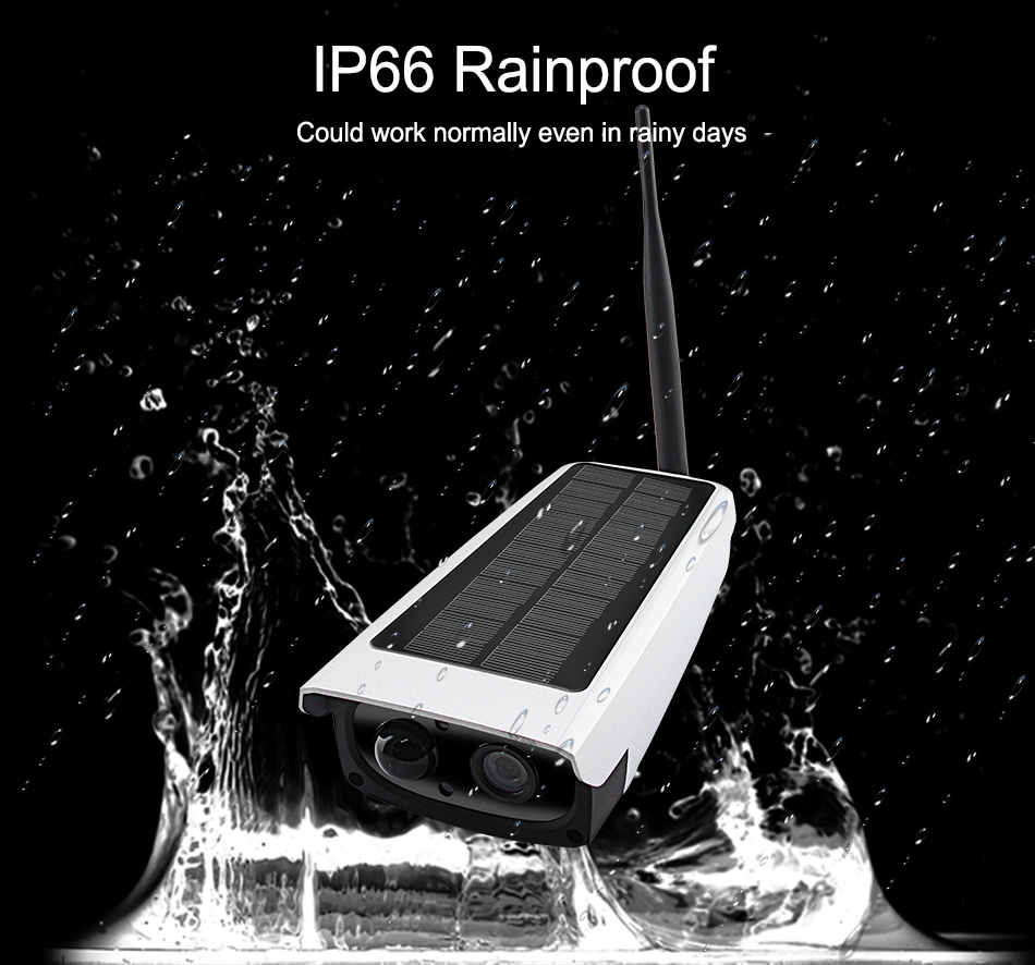 Smar გარე წყალგაუმტარი დაცვა მზის კამერა 1080P Wifi უსადენო IP კამერა მობილური ტელეფონი დისტანციური მართვის ჩამონტაჟებული 7650mA აკუმულატორი (4)