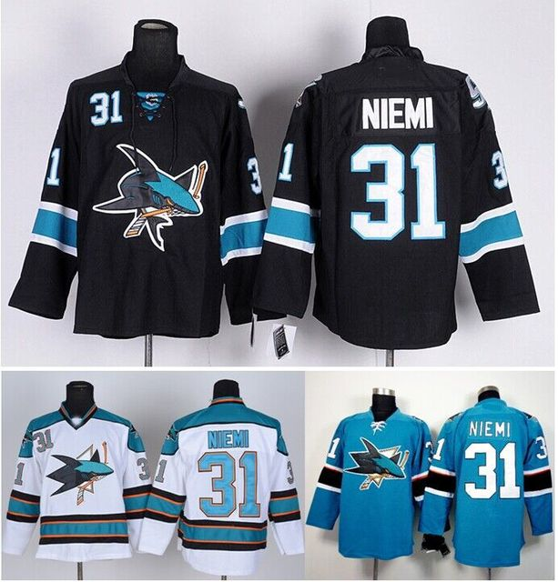Cheap San Jose Sharks Hockey Jerseys  31 Antti Niemi Jersey Home Green Road  White Third Black High Quality Stitched Size M-XXXL cabfff4e4a8c