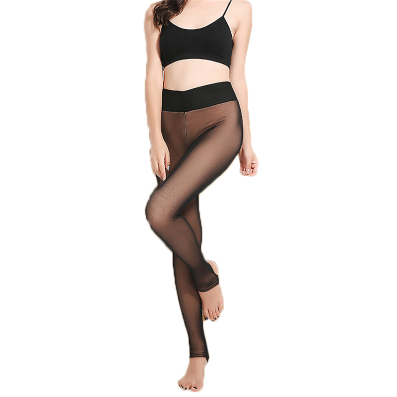 2piece Spring autumn thin fake translucent   leggings   winter thick Womens plus velvet thick large size mesh stepping warm pants943