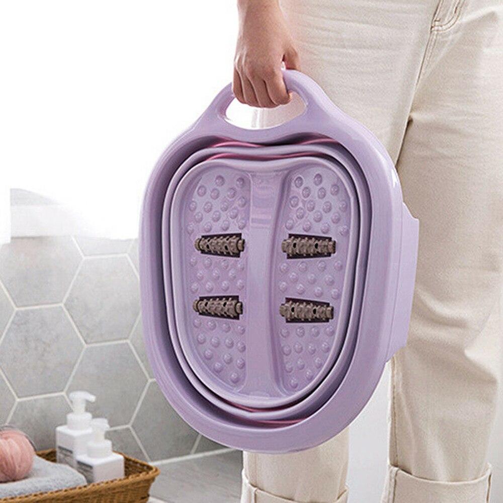 Ménage Portable réduire pression bassin pied bain bassin pliable en plastique Massage pieds baignoire pied bain baril