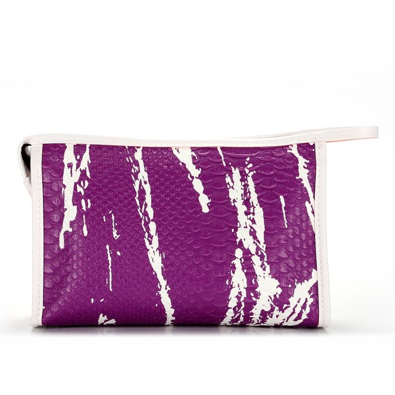 Portable Women PU Leather Travel Cosmetics Bag Zipped Crocodile Skin Storage Case Organizer Ladies Makeup Bags Popular