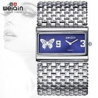 WEIQIN Zilveren Vierkante Dial Bangle Horloges Vrouwen Mode Analoge Quartz-horloge Dames Jurk Armband Polshorloge Uur Relogios 2016