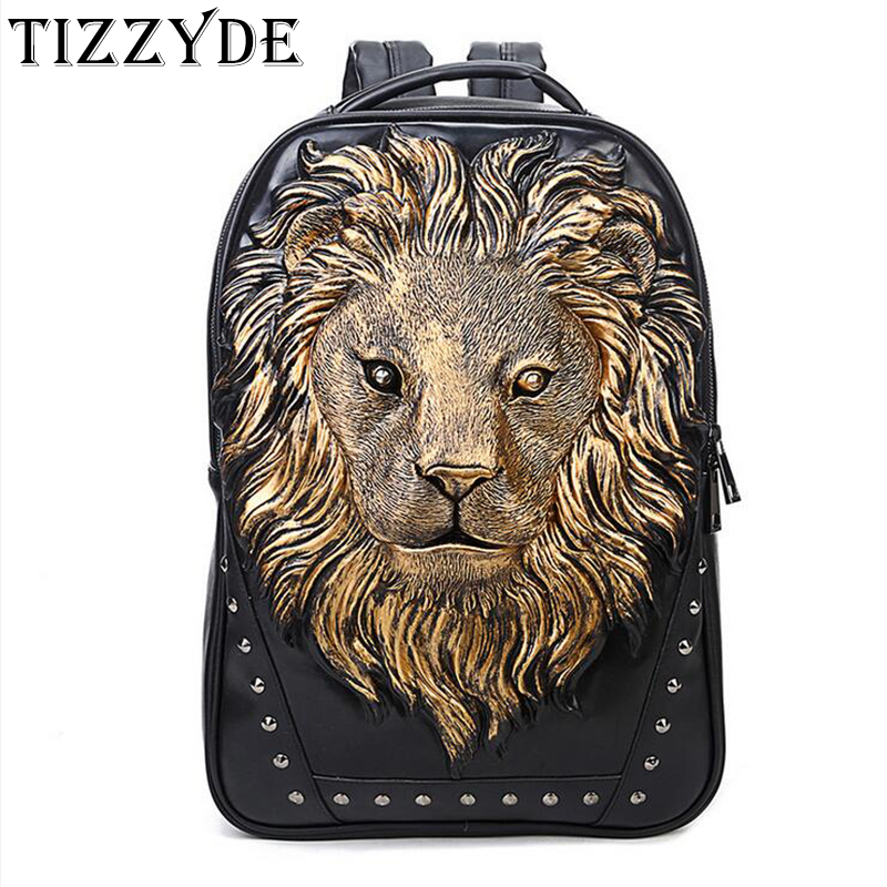Creative Lion PU Backpack Men large capacity laptop bag Casual Anti theft Smart personality Rivets Zipper