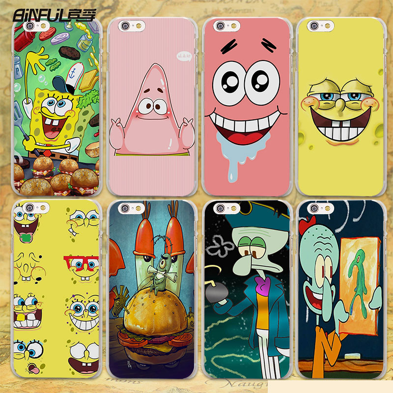 BiNFUL cute Patrick squidward Spongebob Stars hard clear Cases cover for Apple iPhone 7 6 6s Plus SE 4s 5 5s 5c