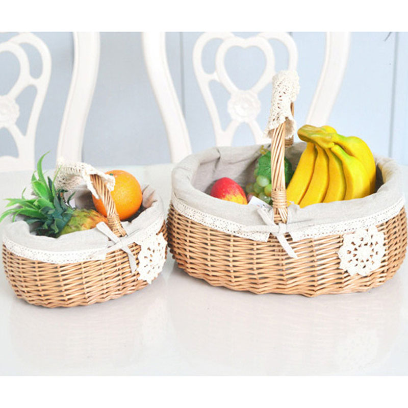 Hand Baskets for Picnic fruits Bread Beverage toys Storage Zakka ...
