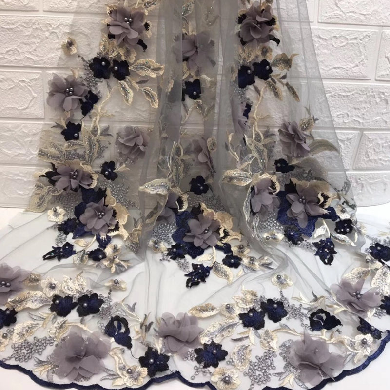 Hot sell! French Nigerian lace fabric Pearl stone tulle African lace fabric 2018 new wedding African French tulle lace