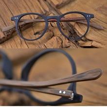 60ların Vintage ahşap kahverengi Oval siyah gözlük çerçeveleri tam jant el yapımı gözlük gözlük erkekler kadınlar miyopi Rx mümkün marka yeni